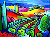 abstract vineyard in tuscany painting