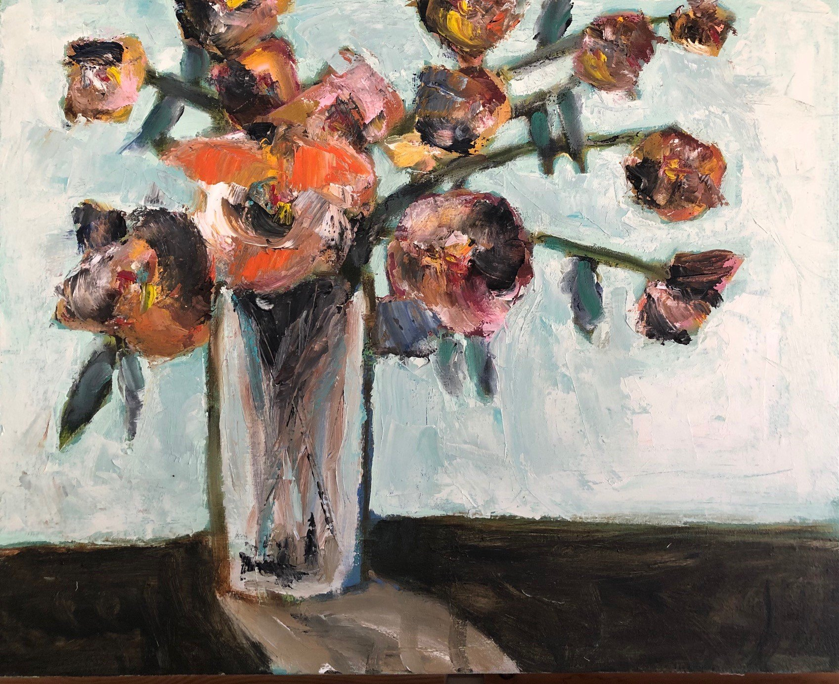 """Brown Roses 16"""" x 20"""" Oil on Board $500"""