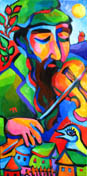 Chai Fiddler Jewish original painting by artist Martina Shapiro