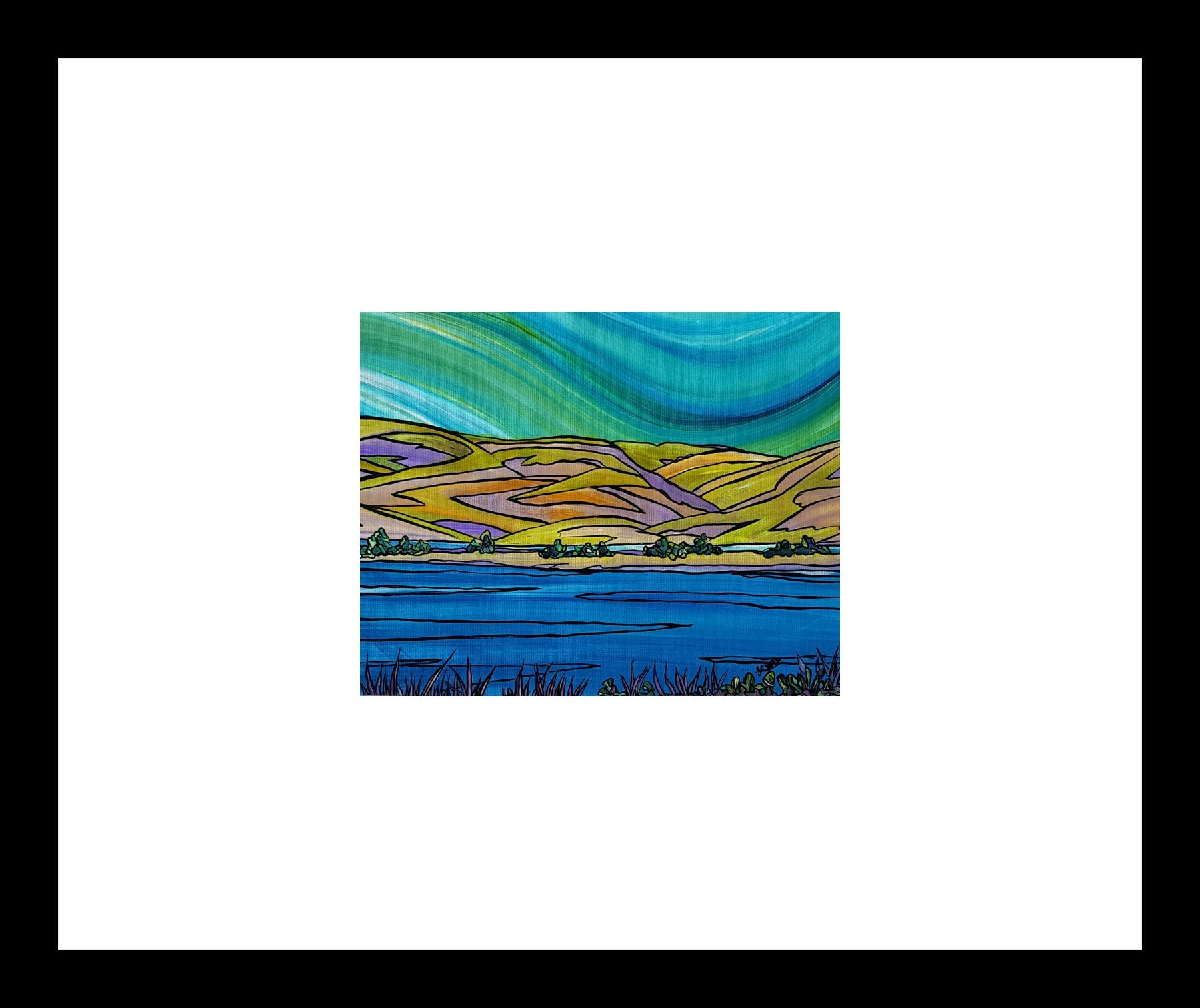 """Along the Qu'Appelle"" [2018] Image: 9.5"" x 7.5"" Framed: 20"" x 20"" Acrylic on 246 lb. paper $250.00"