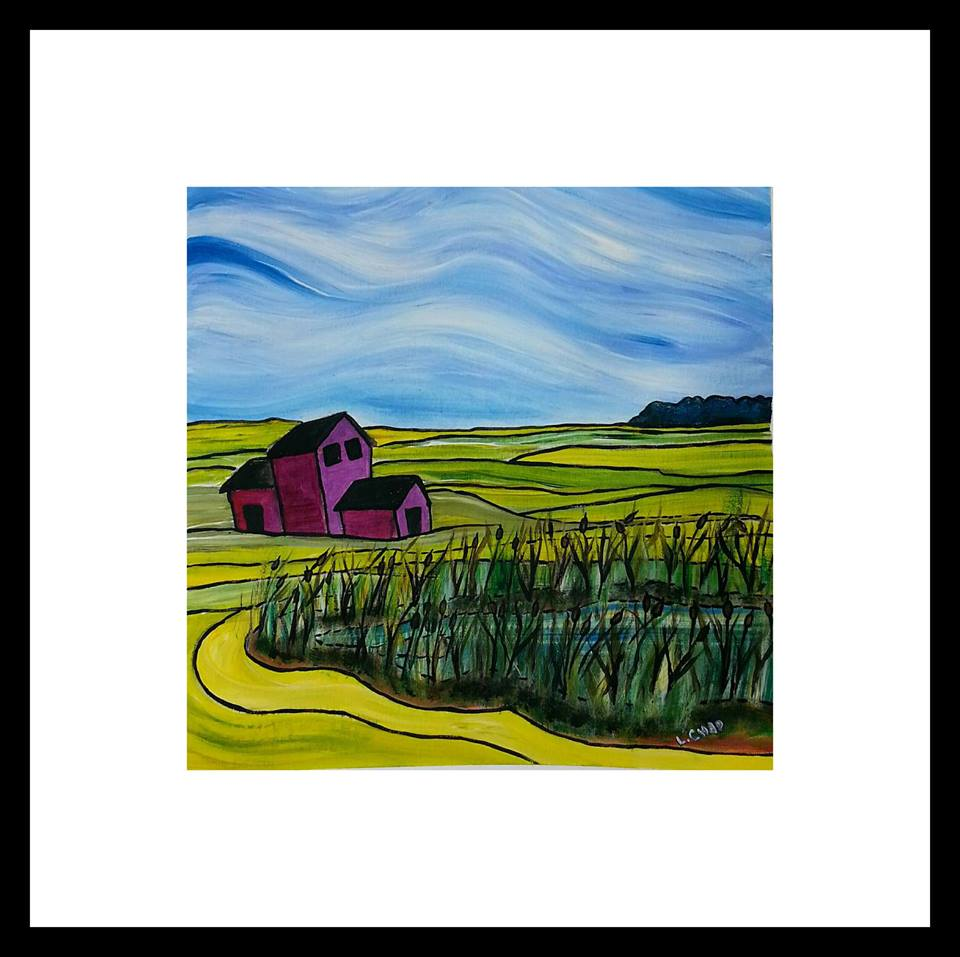 "2015-23 ""Canola Field Framed 18.5"" x 18.5"" Acrylic on 246 lb. paper SOLD"