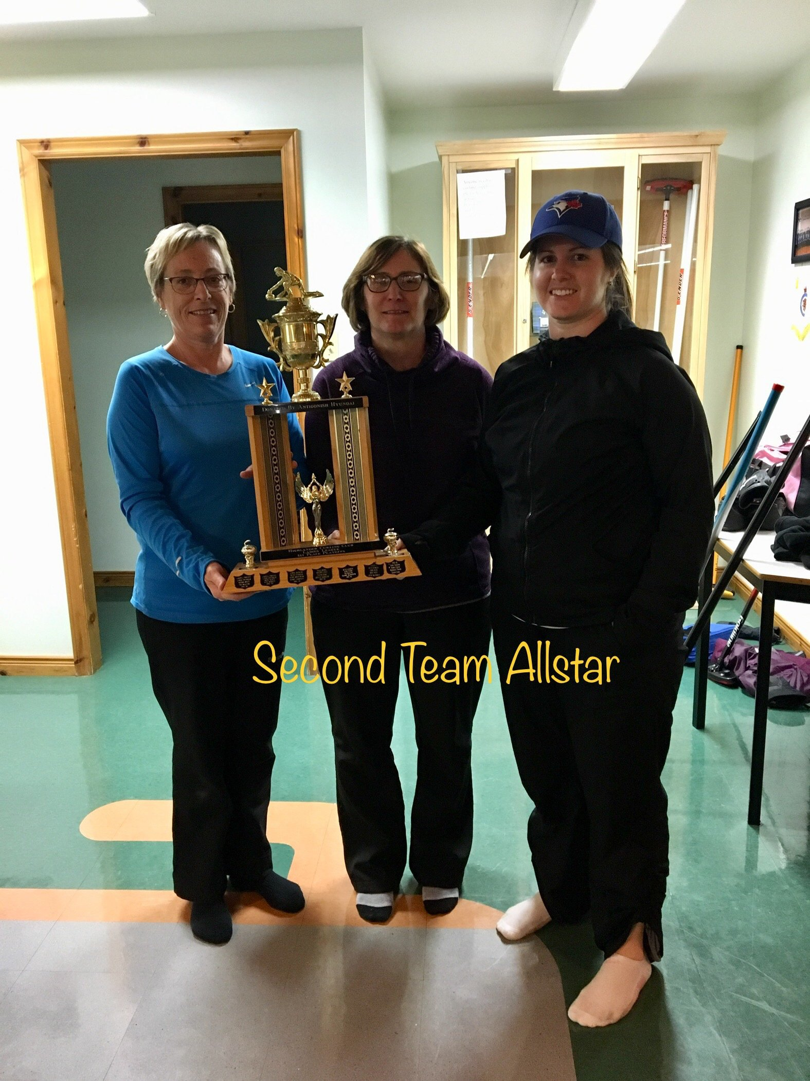 Tuesday Night Ladies Second Team Allstars L to R: Judy Fraser, Joannie Bowie, Katie MacDonald Missing: Marilyn Lohnes