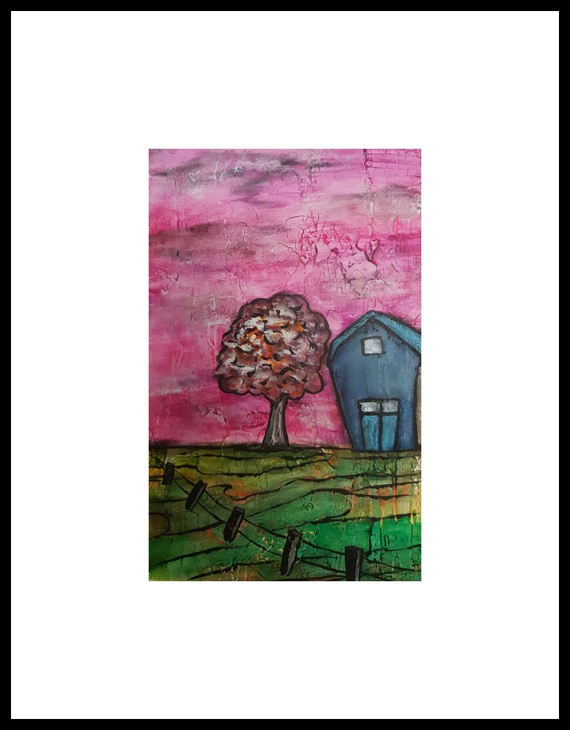 """Prairie Pink""  Framed 10"" x 12"" Mixed media on 246 lb paper with venentian plaster SOLD"