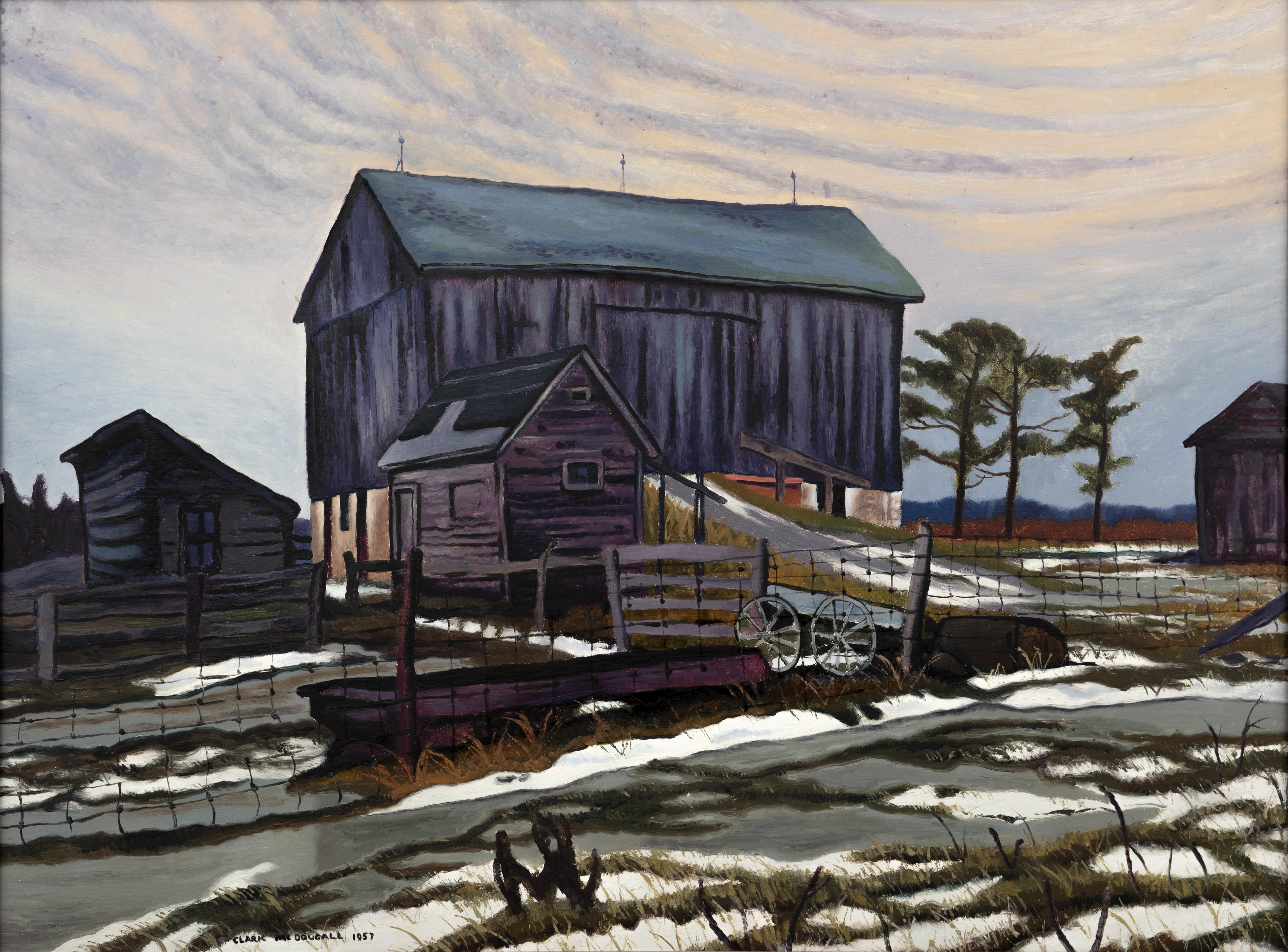 Artist: Clark McDougall,  Farm on 52, East of Radio Road, 1943, Oil on board
