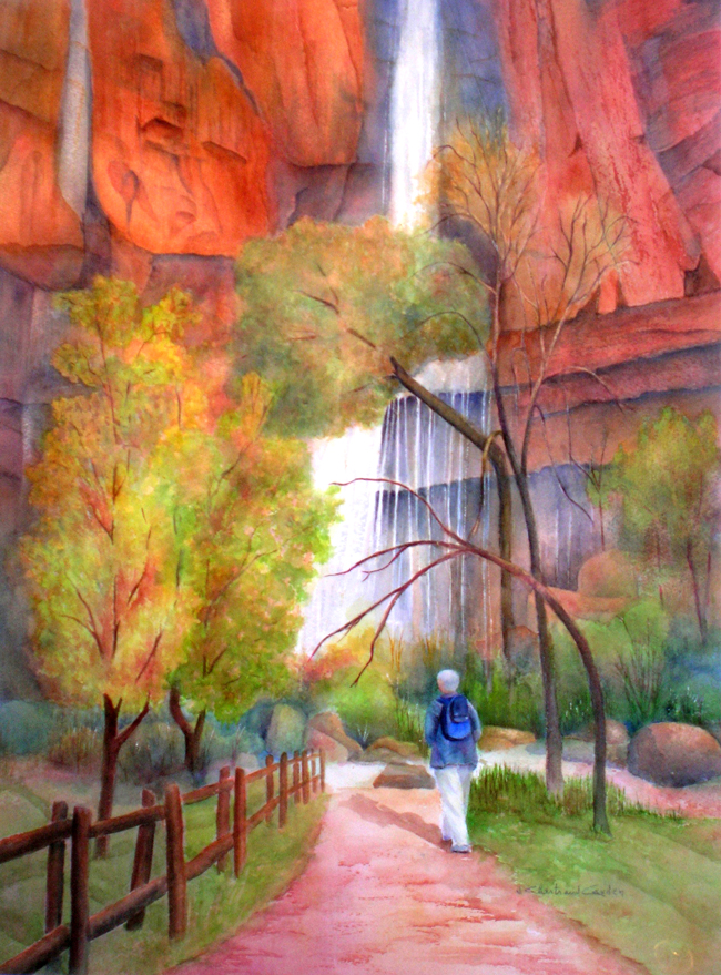 "Zion canyon Aquarelle 25"" x 19"""