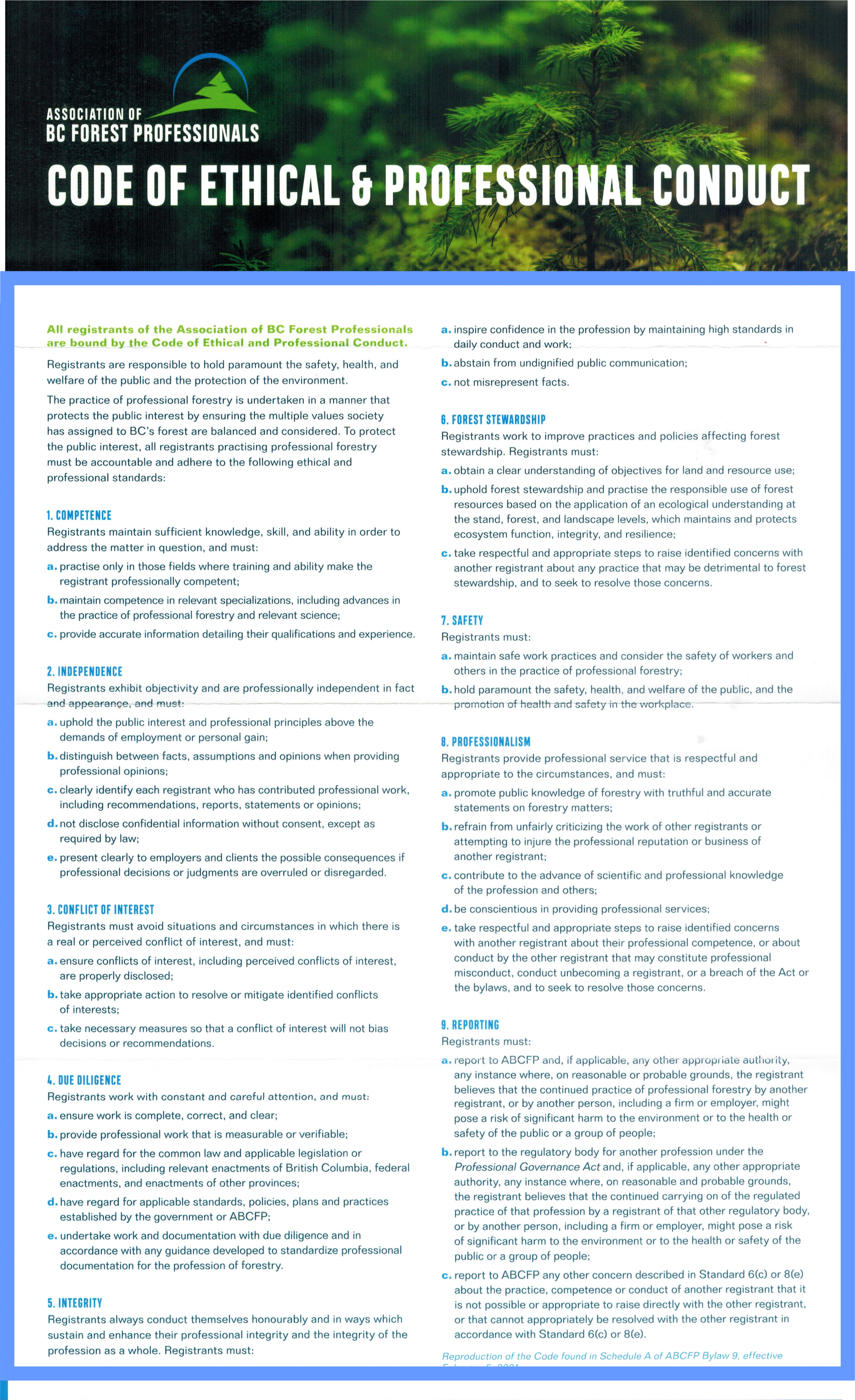 ABCFP Code of Ethical and Professional Conduct