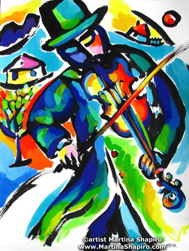 Fiddler Abstraction Jewish original painting by artist Martina Shapiro