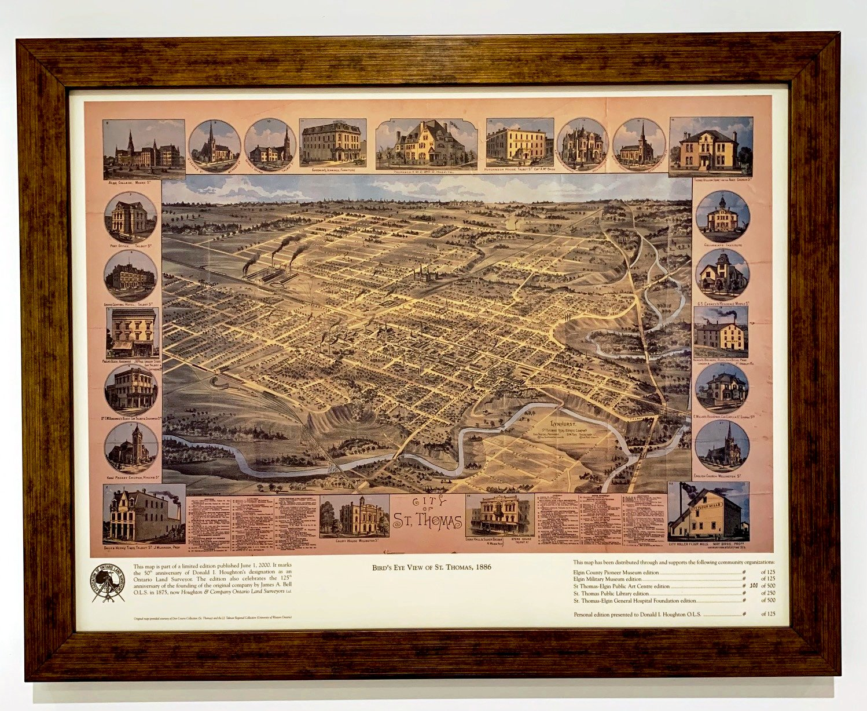 Bird's Eye View of St. Thomas 1886 Framed $125 plus shipping