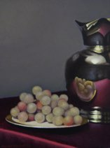 """Silver Pitcher and Grapes"" 9"" x 12"" Alkyd on hardboard $1500"