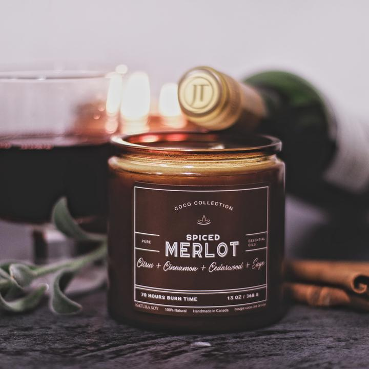 Spiced Merlot Enjoy the aromas of warm mulled spices including cinnamon and ginger mingled with oak wood & sage.