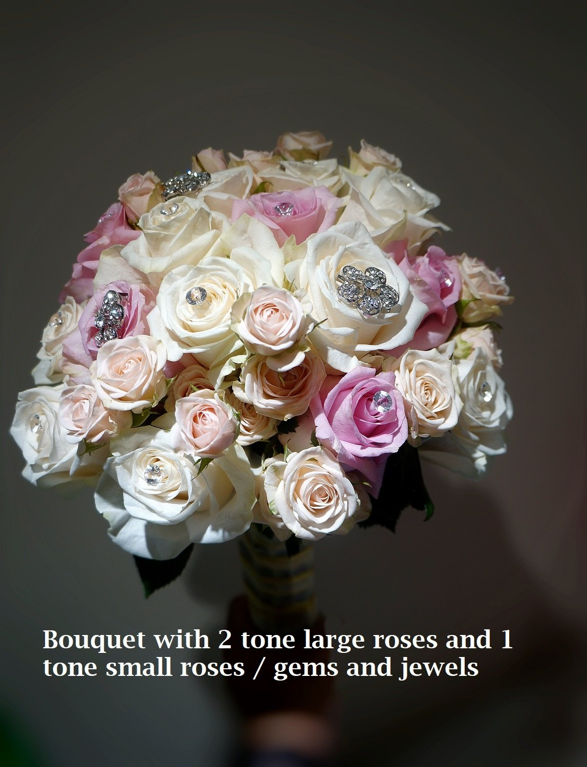 Bridal  Bouquet 2 Tone Roses and Small roses  Gems and Jewels