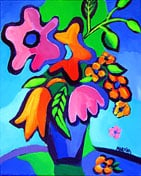"""SOLD to BC, Canada """"Fauve Flowers"""", original oil on canvas painting 8 x 10"""""""