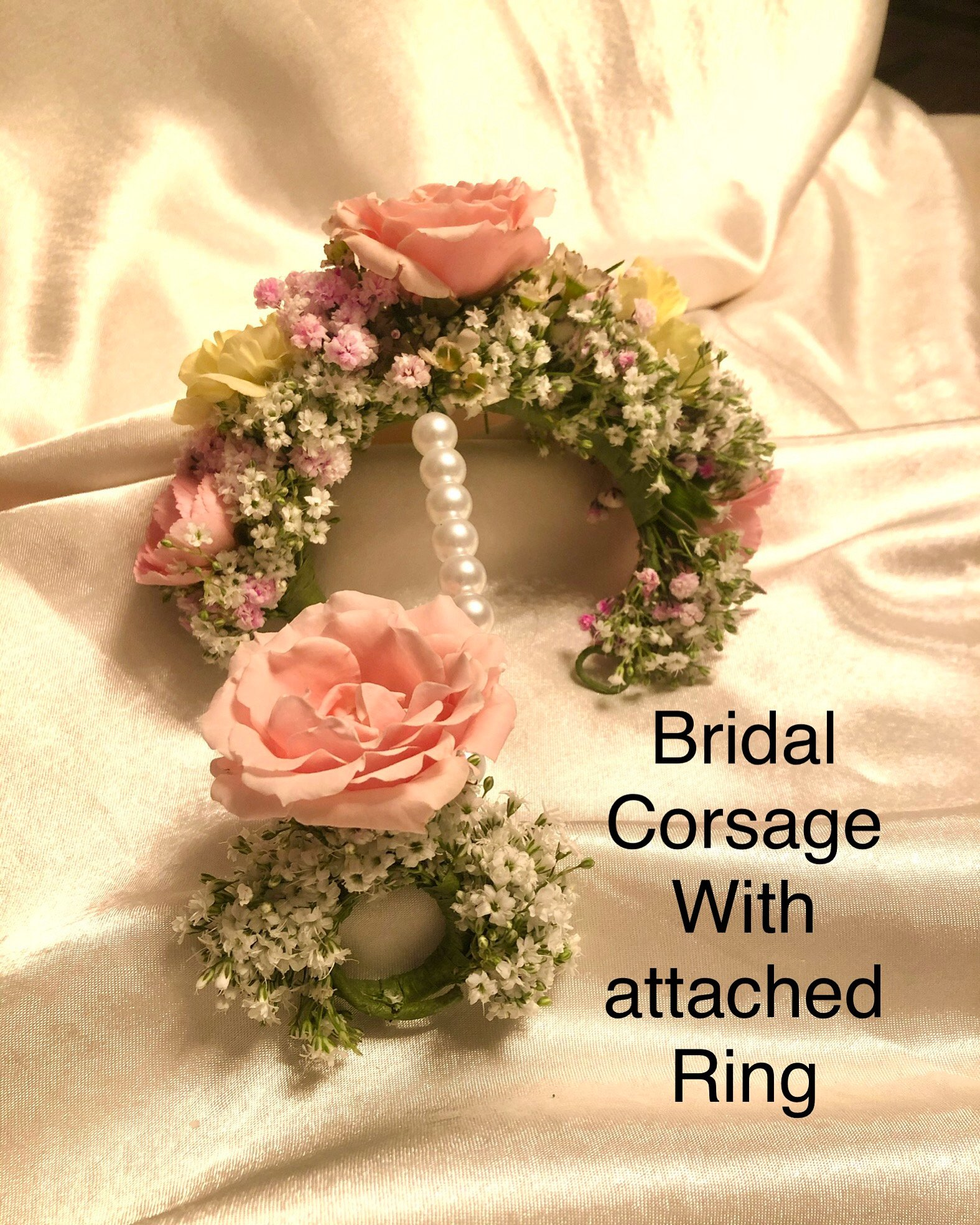 Bridal Corsage small Roses with attached Ring