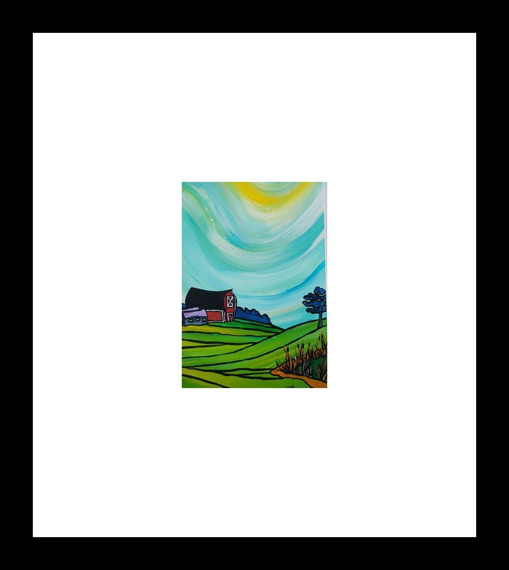 """Farming the Valley"" [2018] Image 4.5"" x 4.5"" Framed 10"" x 10"" Acrylic on 246 lb. paper $175.00"