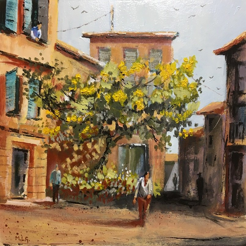 Street of Three Falcons- Avignon Acrylic