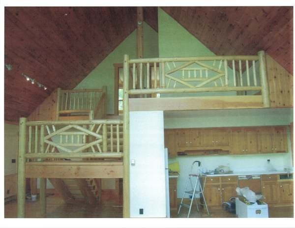 BC fir log straight stairs and railings