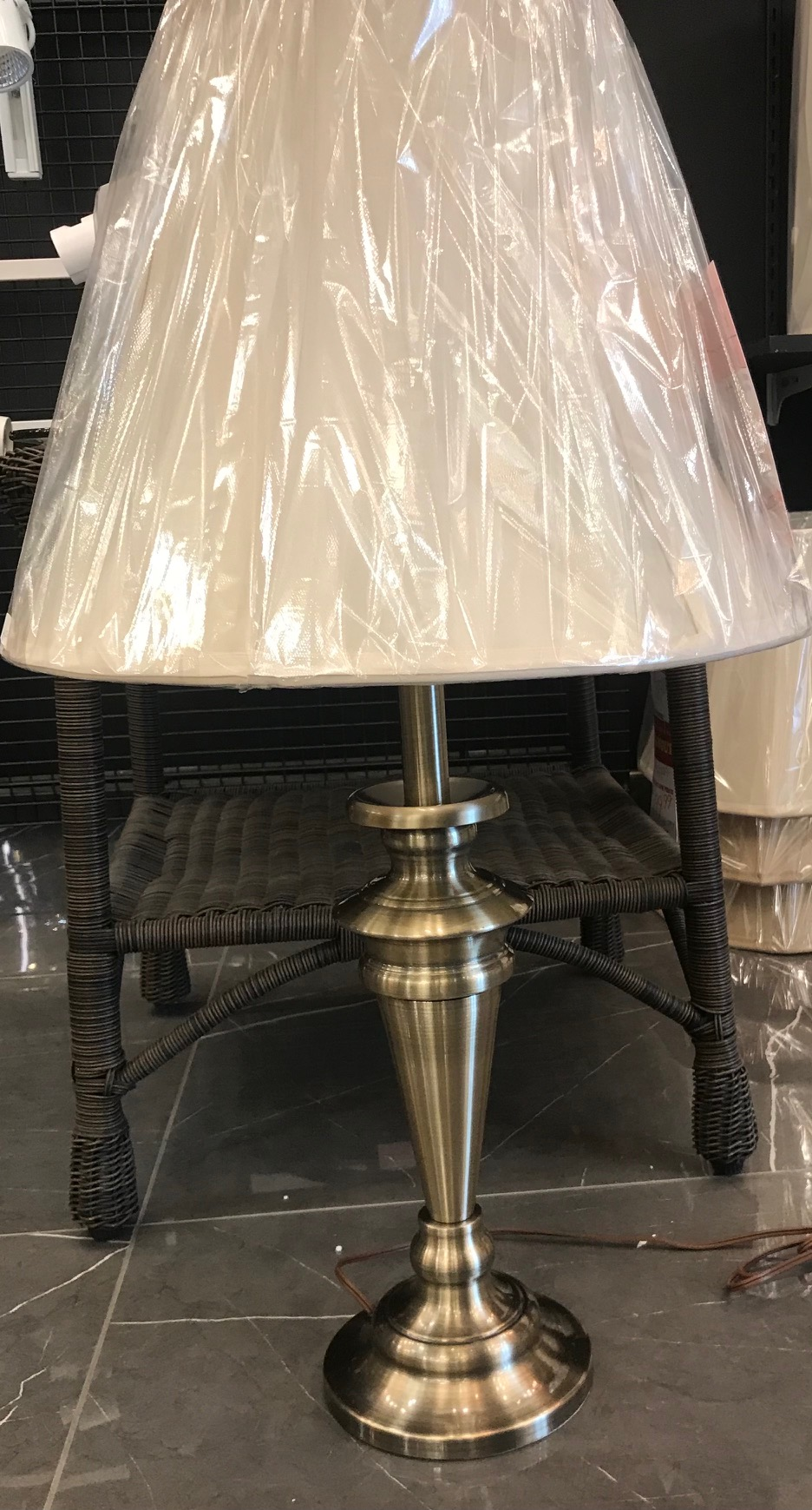 40190 Table Lamp Made in Canada Available in Antique Brass or Brushed Chrome Regular Price $236.99 Sale Price $165.99