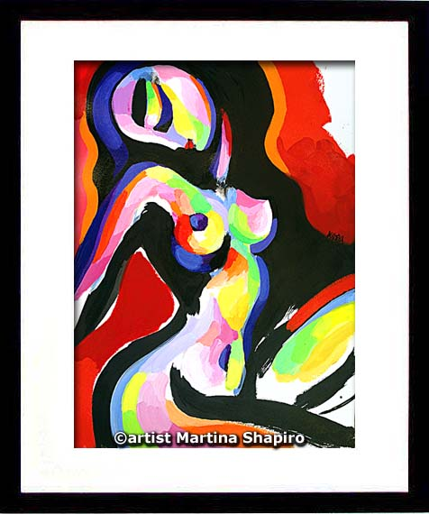 Abstract Sitting Nude framed painting by artist Martina Shapiro
