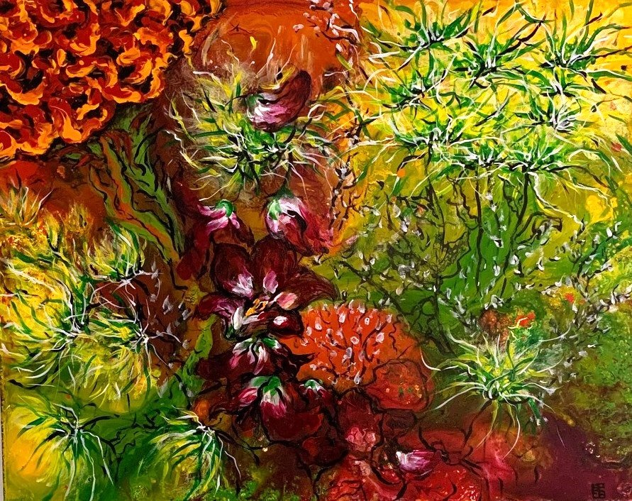 """Pat Evens Brown, Untitled """"Garden: Acrylic on canvas, 24X 30"""" $200 plus shipping pickup available"""