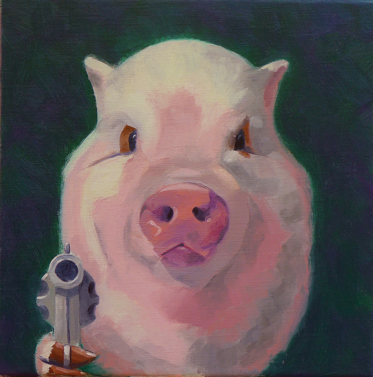 """Go Ahead . . . Make my Day! / study 12"""" x 12"""" / sold oil on canvas"""