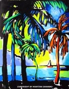 palm trees and the ocean painting landscape abstract