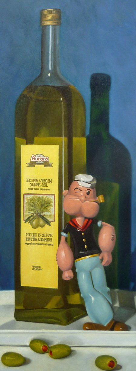 "Popeye and Olive Oil 12"" x 36"" / sold oil on canvas"