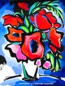 """<b>SOLD to San Diego, USA.<br> """"Abstract Red Poppies""""<br> original painting/drawing <br></b> in acrylic and ink on<br> paper, 18 x 24 inches"""