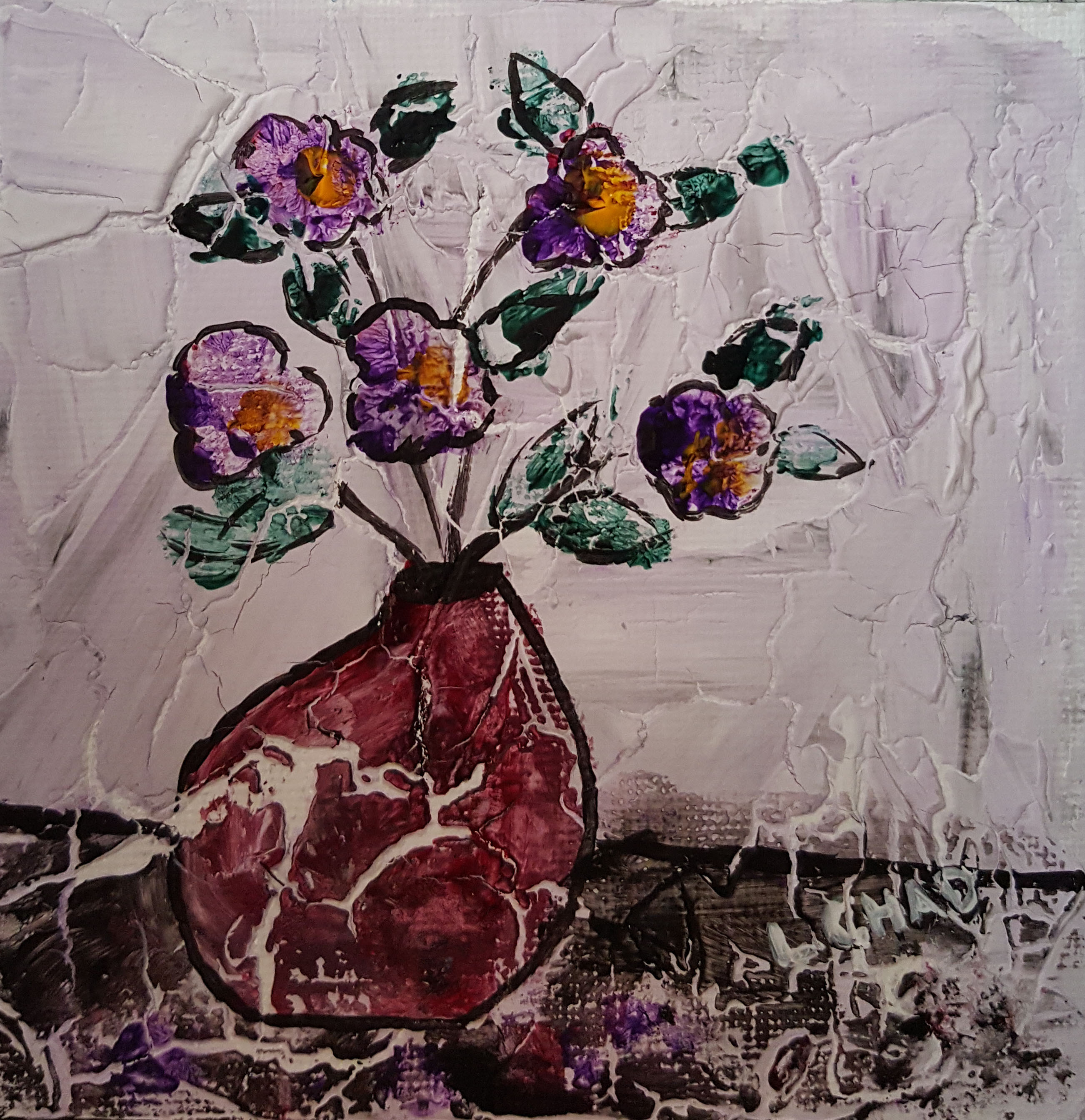 """Pansies"" [2015] Mixed media on canvas. 4.5"" x 4.5"" (unframed with easel) SOLD"