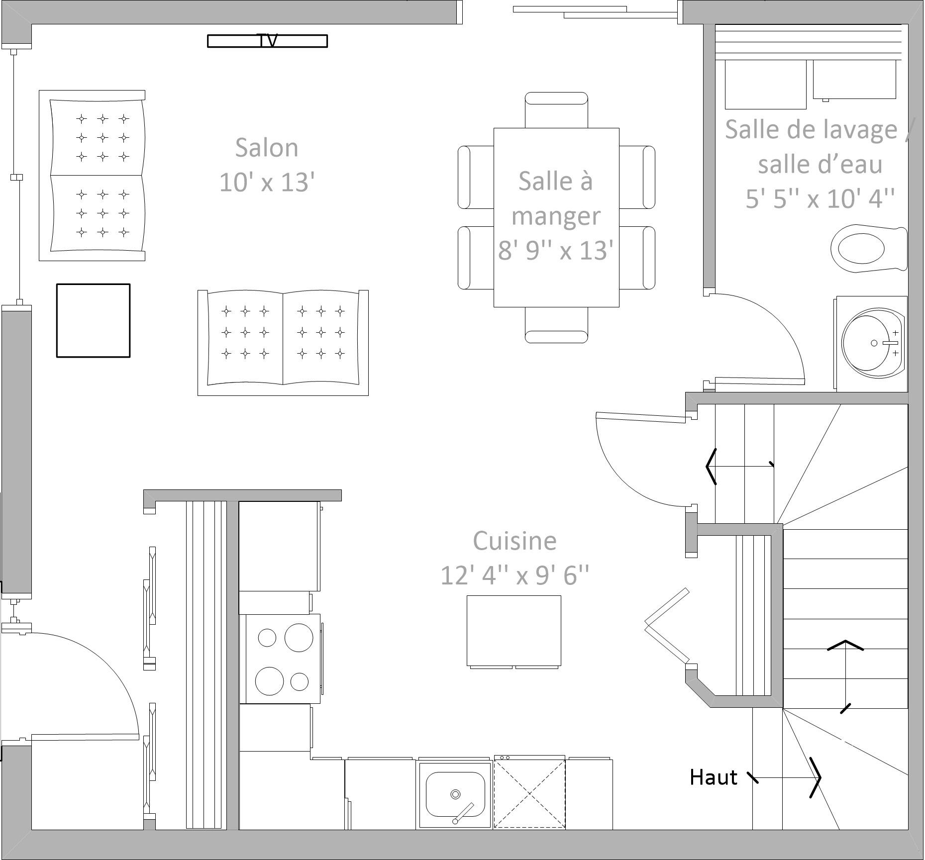 Plan du rez-de-chaussée proposé