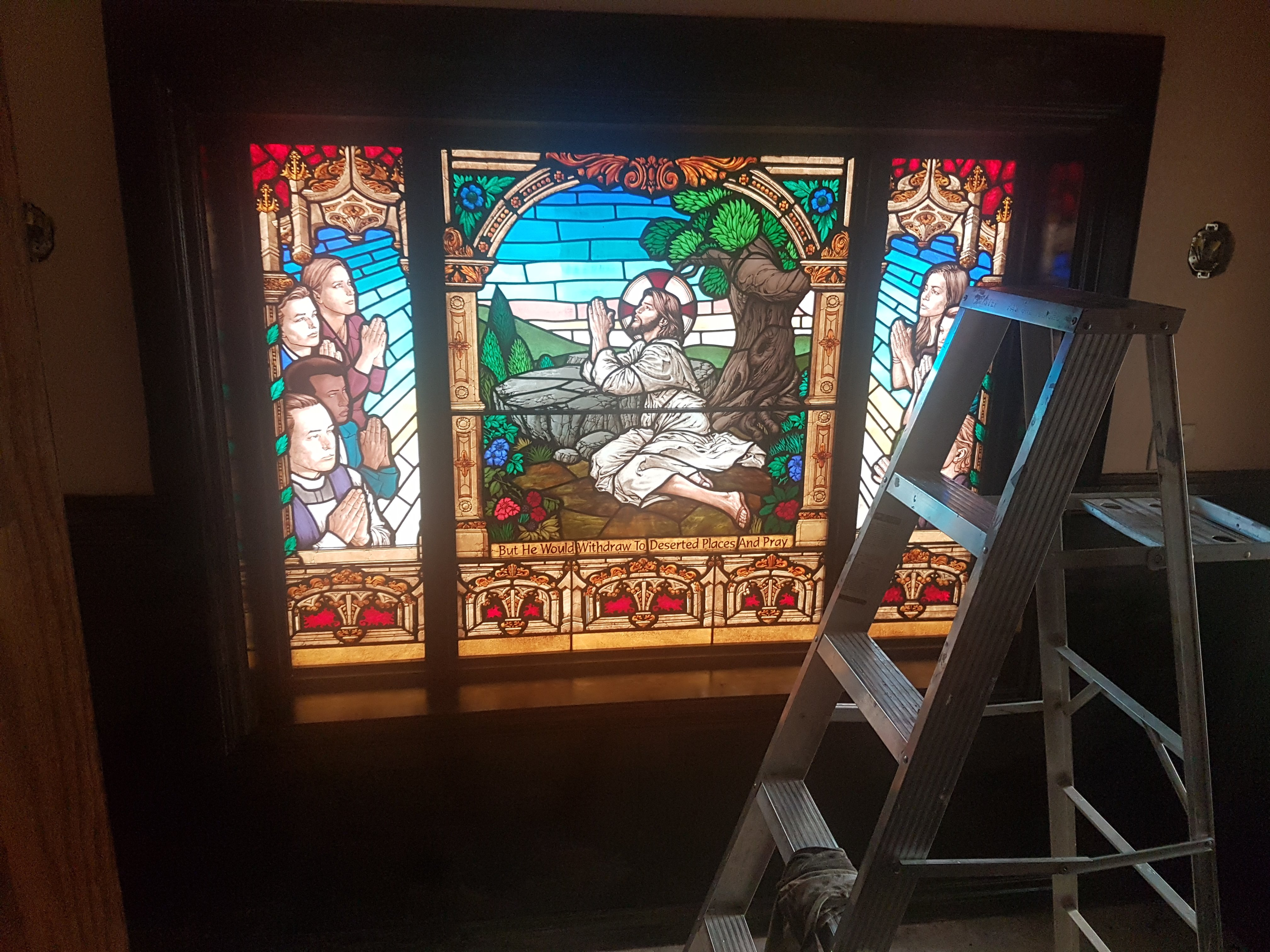 Prayer Room stained-glass  being installed (May 2018)