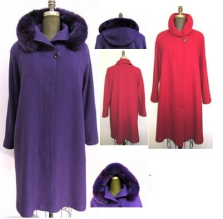 Style #4461-5  Violet Boiled Wool (Violet) left, removable fox trim hood (Ruby Red) Right  Features: Knee length, this swing style has elegance and grace, minimalist look fly front, and raglan sleeves. Versatile removable hood .  Perfect for an evening out or pair it with your favourite jeans.  It always looks and feels fabulous! Includes extra buttons. Chamois lined for warmth.  Available Fabrics: Boiled Wool, Cashmere or Cashmere/Blend, Alpaca, 100% Pure Virgin Wool and more.  In-Stock Colours:  Navy, Violet, Camel, Black or can be custom made in any colour or fabric.  Size: S,M,L, XL  Price:  $ 550 and up