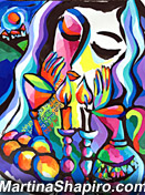 Shabbat Blessing with Challah original Jewish painting