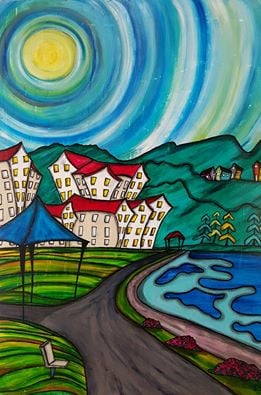 """Parksville"" [2016] 30"" x 40"" (image). 31"" x 41"" (framed) Mixed media on canvas SOLD"