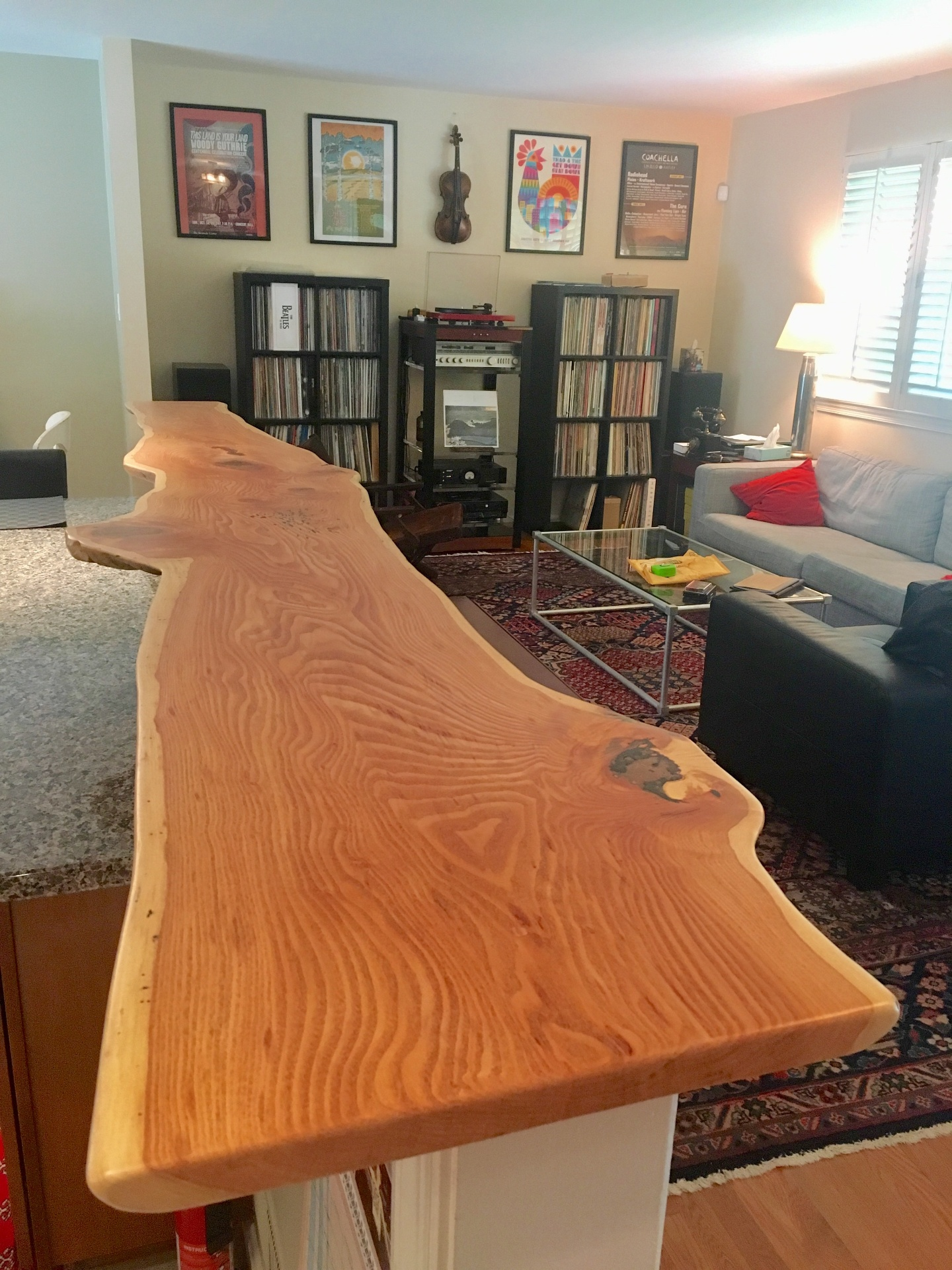 Live edge honey locust slab for a knee wall top.