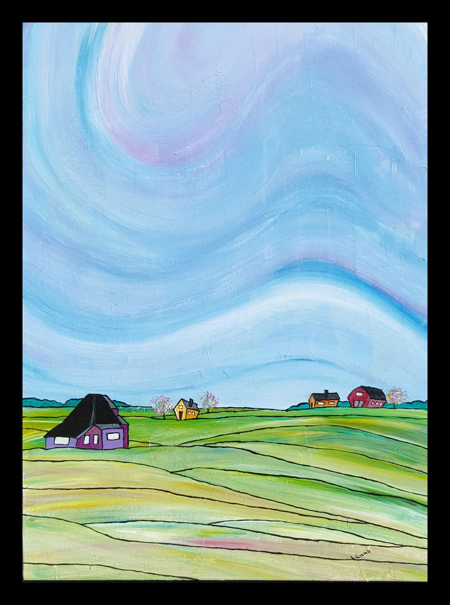 """Saskatoon to Regina"" [2015] Acrylic on canvas. 18"" x 24"" (image). 19"" x 25"" (framed) SOLD"