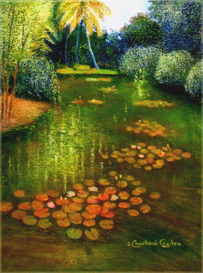 "Jardin de nénuphars Pastel 18"" x 14"""
