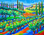 vineyard in toscana painting arte