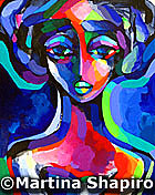 Woman In Blue painting original abstract female figure