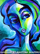 Expression in Blue and Green original painting woman fine art