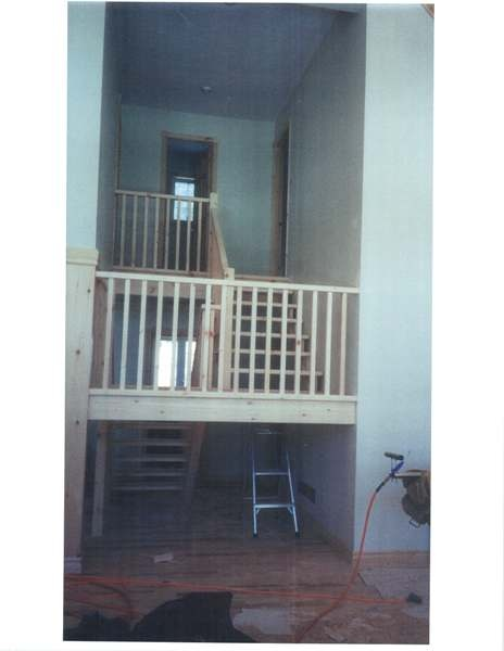 Straight pine Scandinavian style stair