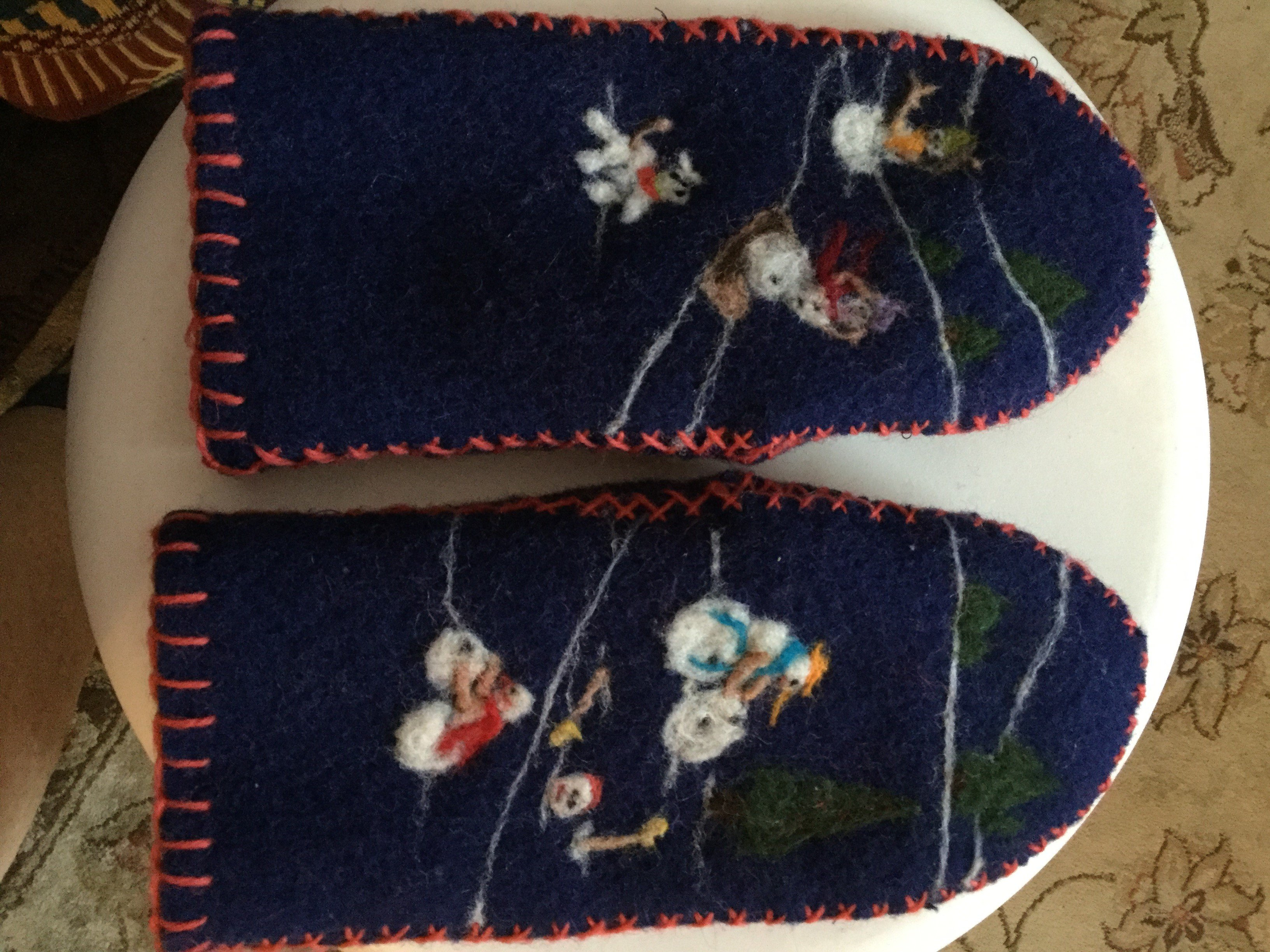 Shelley - finished needle felted mittens.