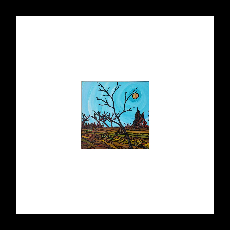 "2019-21 ""Prairie South Fall"" Image: 5"" x 5"" Framed: 12"" x 12"" Acrylic on 246 lb paper $125.00"