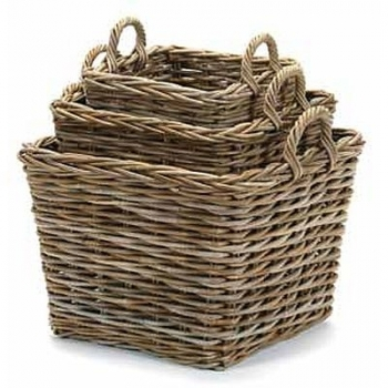 """Grey Rattan Square Basket Small - Sold out Medium - Sold out  Large 20""""x 20"""" x 20""""- $89.99"""