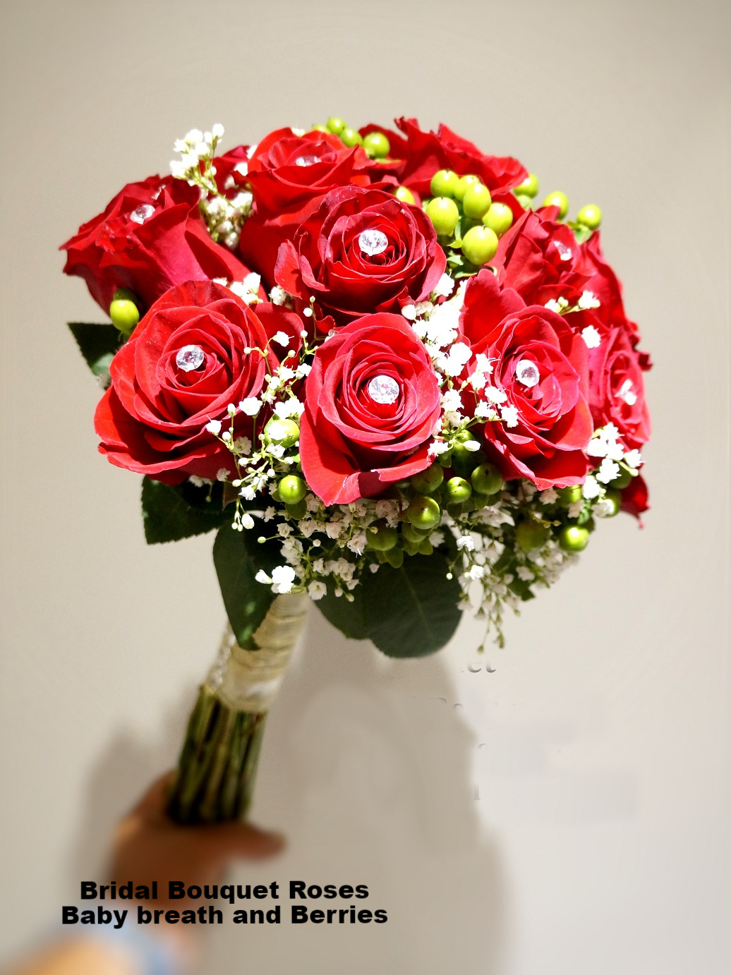 Bridal Bouquet Roses /Baby breath and Berries