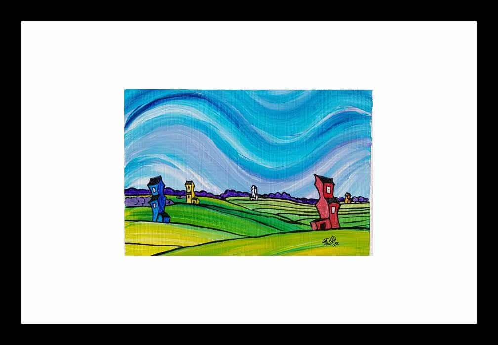 """Field of Dreams"" [2017] Image 6.75"" x 4.75"" Framed 18"" x 12"" Acrylic on 246 lb. paper $145.00"