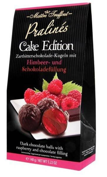 MT148RC Maitre Truffout dark chocolate balls with raspberry & chocolate filling 148 gr