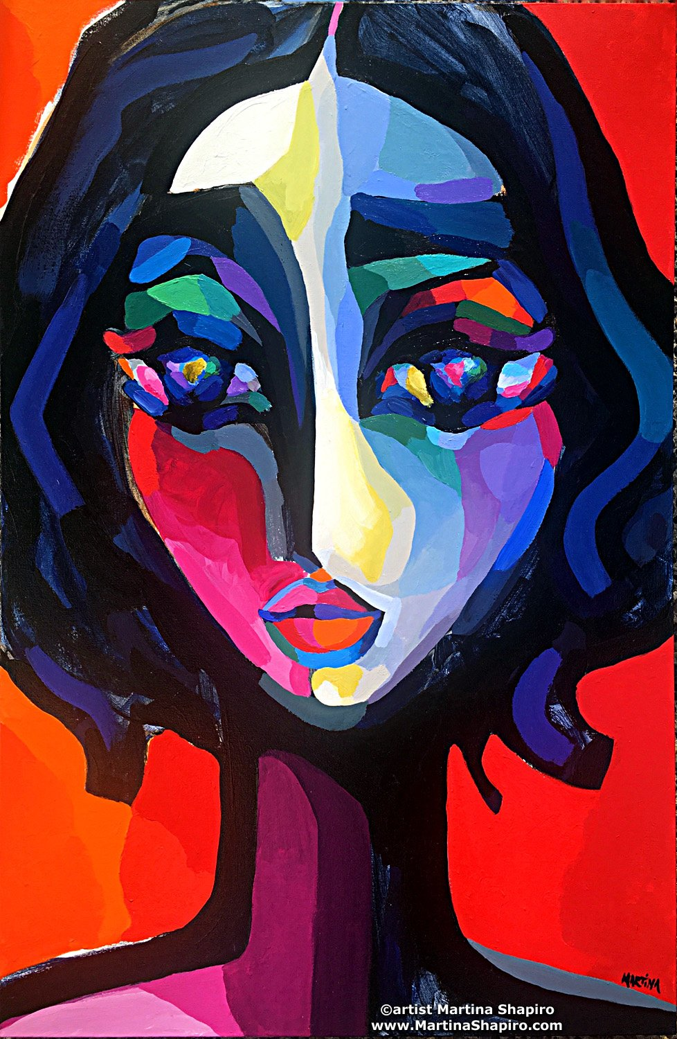 Woman On Red contemporary painting by artist Martina Shapiro