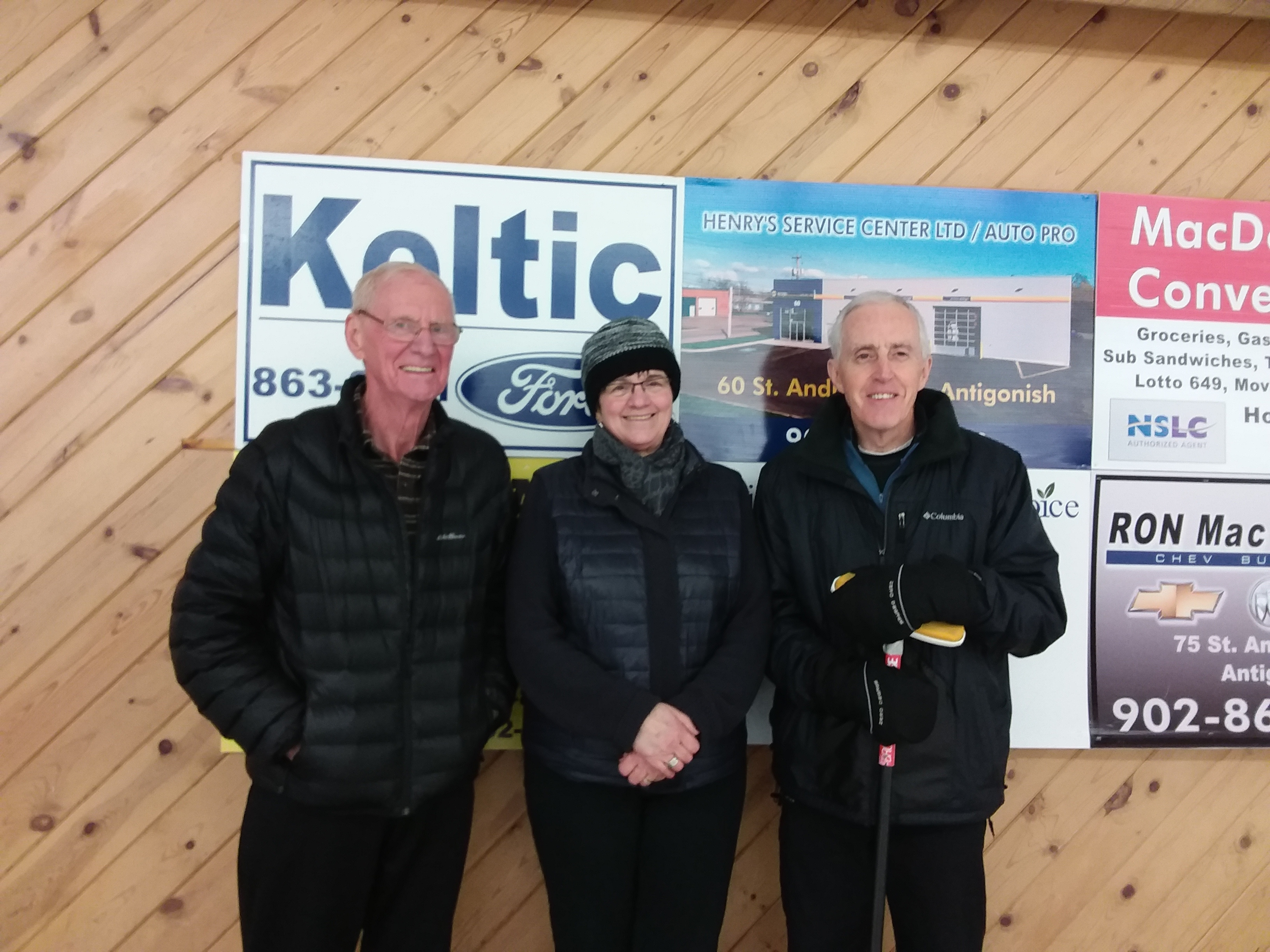 Tuesday Seniors Curling Second Place Winners: Lawrence Long, Mina Long, Duncan Carson, missing from photo Paulette Tate