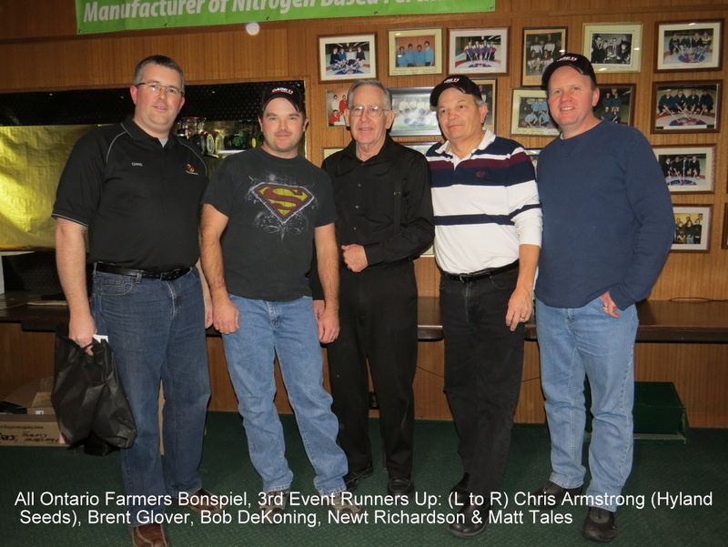 All Ontario Farmers Bonspiel 2015, Syndenham & District Curling Club, 3rd Event Runners Up. (L to R) Chris Armstrong (Hyland Seeds), Brent Glover, Bob DeKoning, Newt Richardson & Matt Tales.