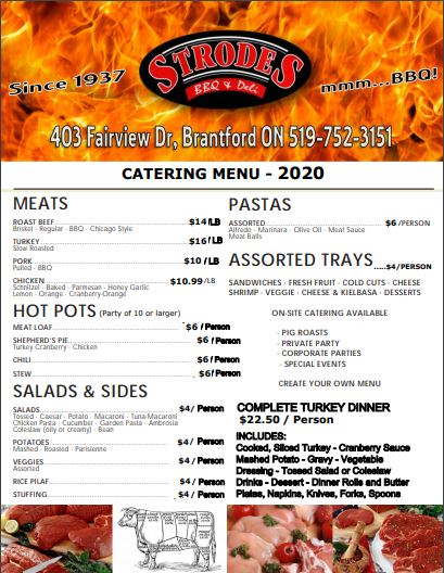 Strodes Catering Menu